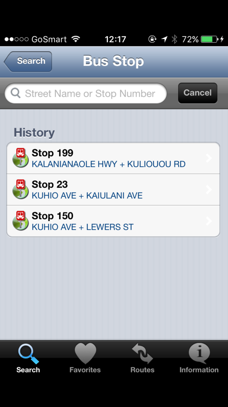 Search for a Bus Stops