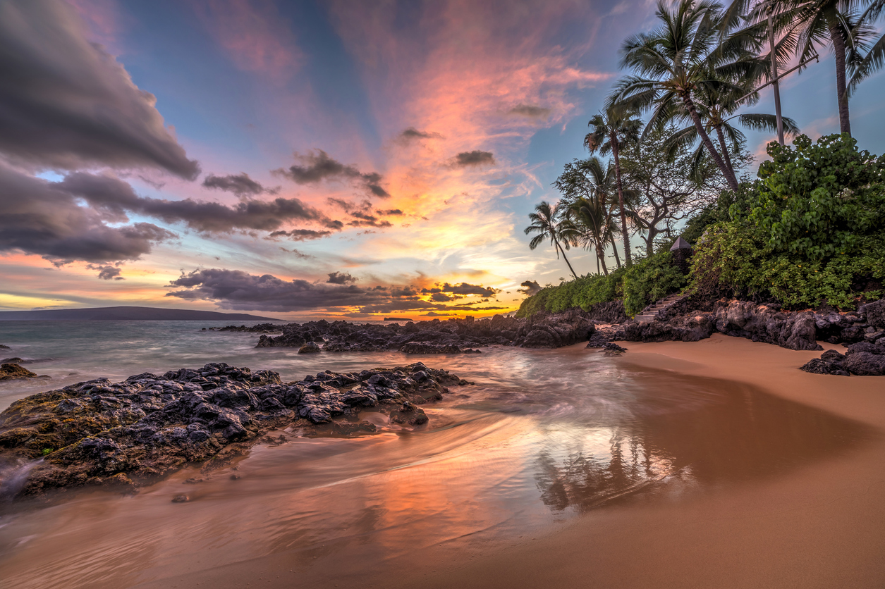 Wonderful sunset from secret cove on the tropical island of Maui, Hawaii