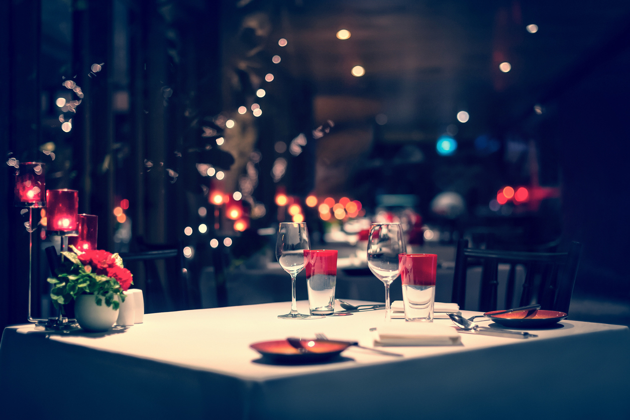 romantic dinner setup, red decorations. Vintage.