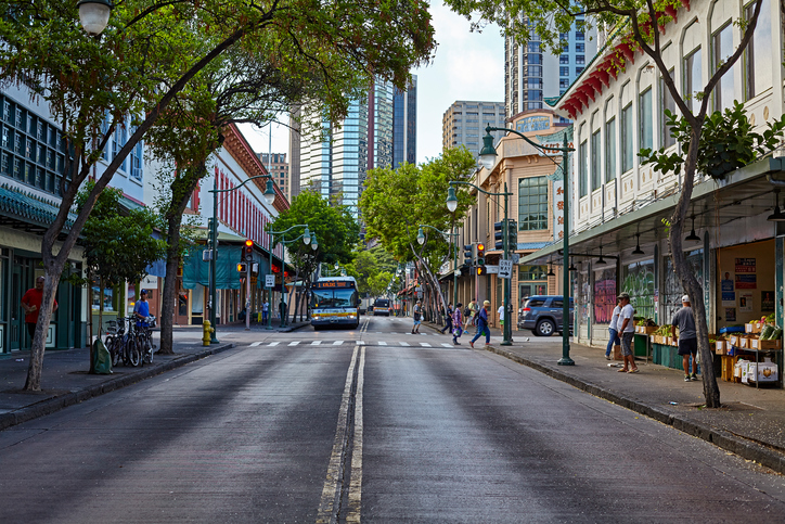 City Bus in Downtown Chinatown Honolulu Hawaii