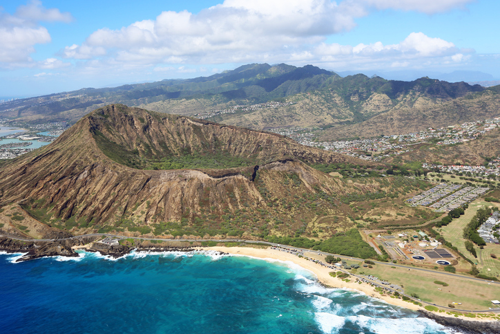 Birds-eye-view at Oahu, Hawaii