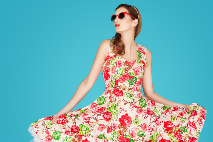Retro Woman In Floral Dress