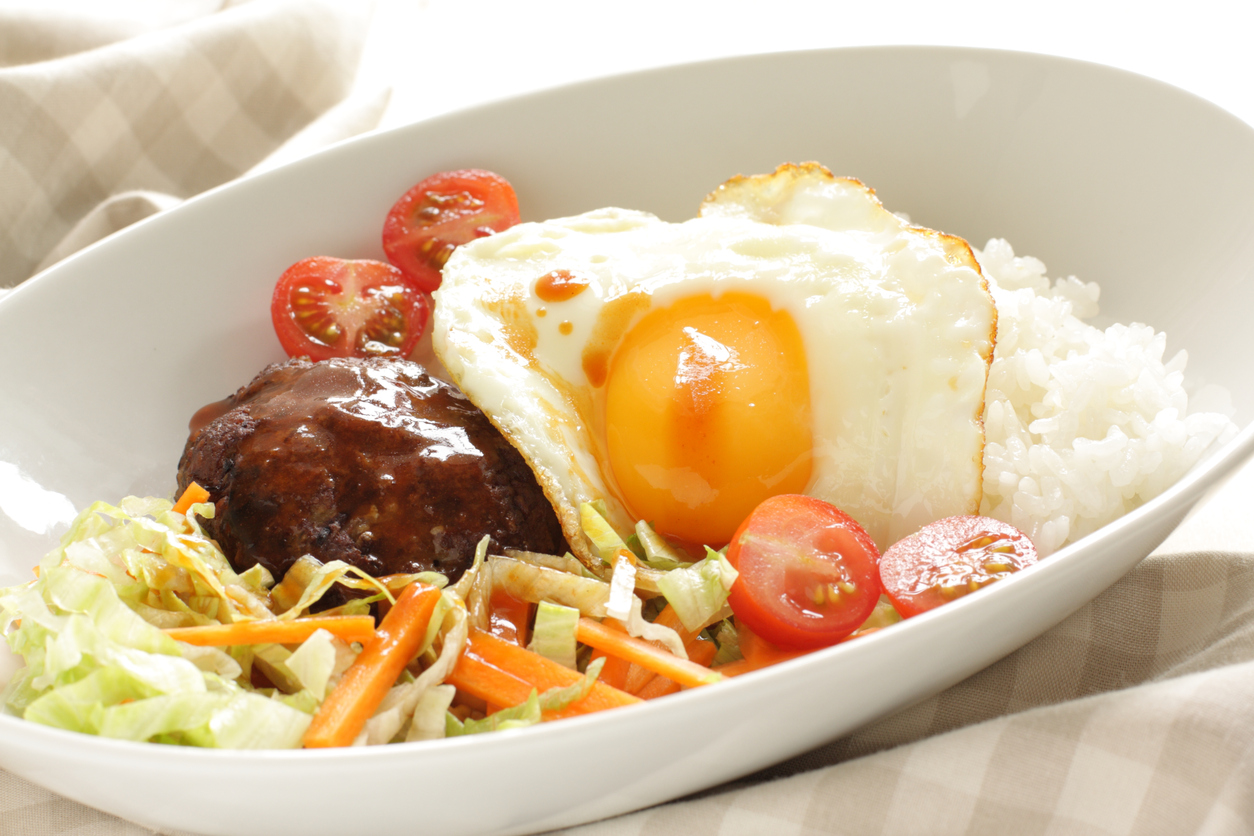Hawaiian food, locomoco rice
