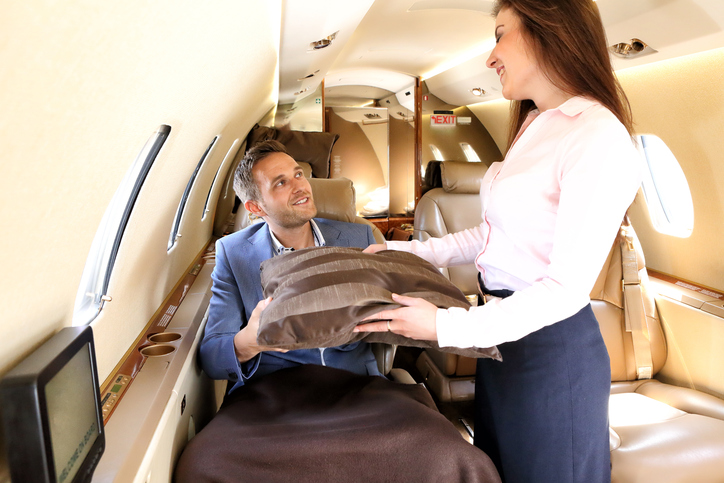 Passenger of the executive jet before taking a rest