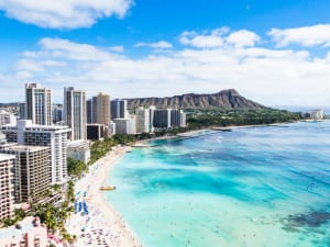 Waikiki Beach and Diamond Head Crater in Honolulu, Oahu island, Hawaii, USA