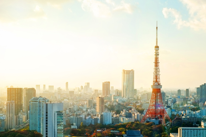 Panoramic view of Tokyo tower under moring sunrise