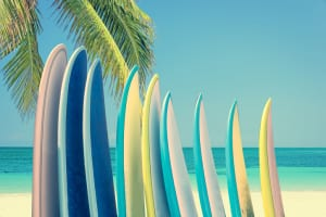 Stack of colorful surfboards on a tropical beach by the ocean with palm tree, retro vintage filter