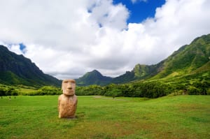Fake Easter island head on Kualoa Ranch, Oahu
