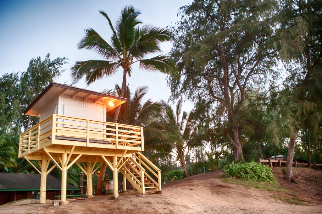 coastguard hut on sandy beach on Hawaii