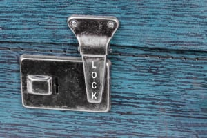 Lock on an old suitcase